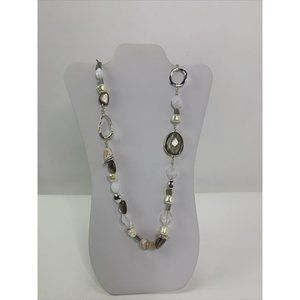 Chicos Silver Tone Hammered Disc Chain Necklace